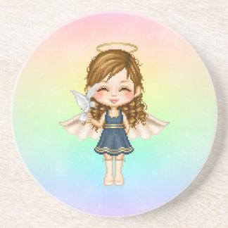 Blue Angel Pixel Art Sandstone Coaster