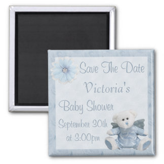 Blue Angel Teddy Bear Save the Date Baby Shower Square Magnet