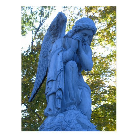Blue Angel Zink Statue postcard