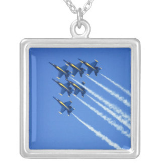 Blue Angels flyby during 2006 Fleet Week 2 Square Pendant Necklace