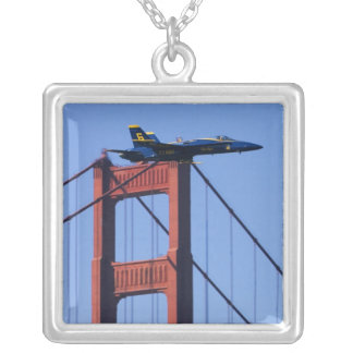 Blue Angels flyby during 2006 Fleet Week 3 Square Pendant Necklace
