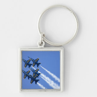 Blue Angels flyby during 2006 Fleet Week Silver-Colored Square Key Ring