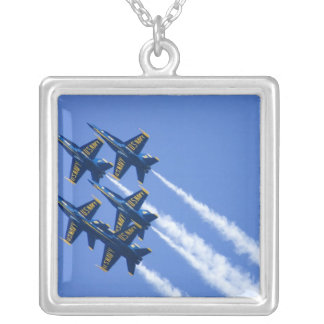 Blue Angels flyby during 2006 Fleet Week Square Pendant Necklace
