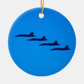 Blue Angels Jet Round Ceramic Decoration