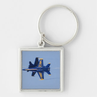 Blue Angels perform knife-edge pass during 2006 Silver-Colored Square Key Ring