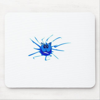 Blue Angry Splat Smiley Mouse Pad