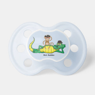 Blue Animal Friends Monkey and Alligator Pacifier