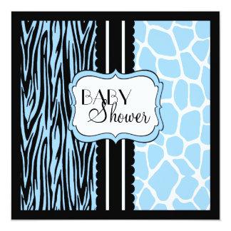 Blue Animal Print-Baby Shower 13 Cm X 13 Cm Square Invitation Card
