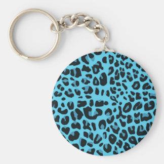 Blue animal print basic round button key ring