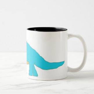 Blue apatosaurus mug