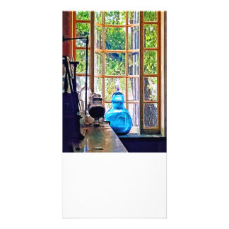 Blue Apothecary Bottle Customized Photo Card