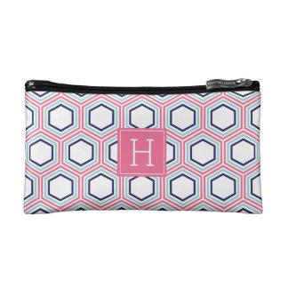 Blue Aqua and Pink Geometric Pattern Monogrammed Makeup Bag