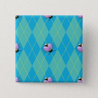 Blue & Aqua Argyle Ladybug 15 Cm Square Badge