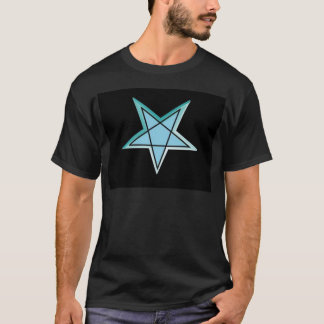 Blue, aqua & black 3d inverted pentagram gear T-Shirt