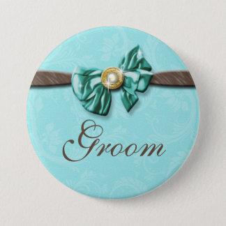 Blue aqua brown gem bow floral 7.5 cm round badge