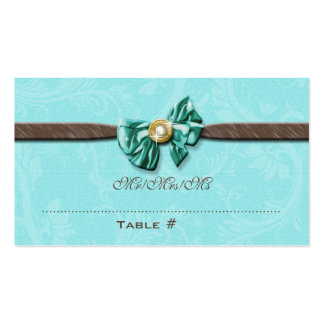 Blue aqua brown gem bow floral business cards