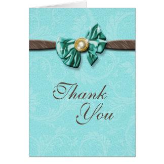 Blue aqua brown gem bow floral card