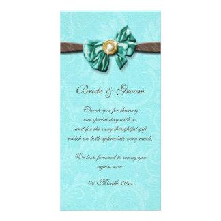 Blue aqua brown gem bow floral photo card
