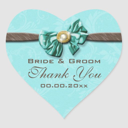 Blue aqua brown gem bow floral heart sticker