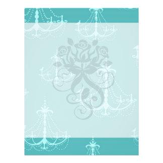 blue aqua chandelier damask pattern full color flyer