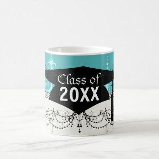 blue aqua chandelier damask pattern graduation basic white mug