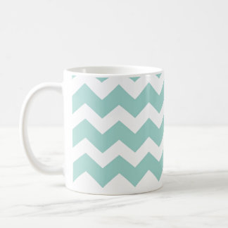 Blue aqua chevron zigzag pattern modern trend basic white mug