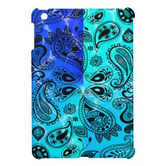 Blue Aqua Distressed-Grunge Paisley iPad Mini Cases