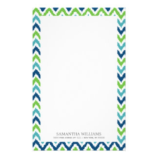 Blue Aqua Green Zigzag Ikat Pattern Stationery