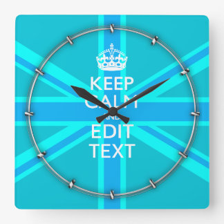Blue Aqua Keep Calm And Your Text Union Jack Square Wall Clock