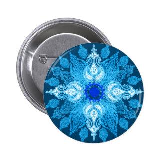 Blue aqua paisley sunflower 6 cm round badge
