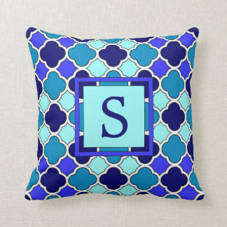 Blue & Aqua Quatrefoil Monogram Throw Pillow