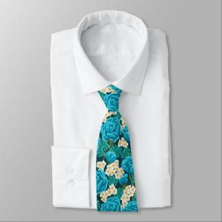 Blue aqua rose floral hand painted pattern tie