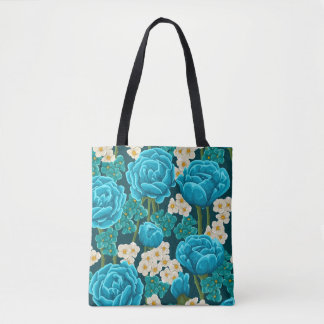 Blue aqua rose floral hand painted pattern tote bag