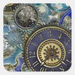 Blue aqua steampunk gears, cogs, clock faces print