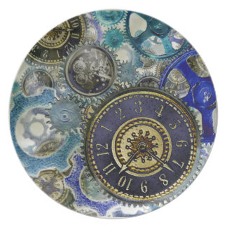 Blue aqua steampunk gears, cogs, clock faces print plate