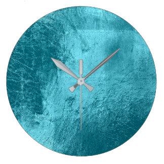 Blue Aqua Tiffany Metallic Glass Gray Minimal Large Clock