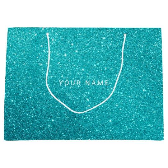 Blue Aqua Turqoise Ocean Glitter Favor Gift Large
