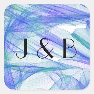 Blue & Aqua Watercolor Wedding Monogram Stickers