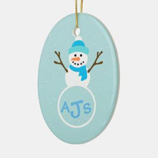 Blue Aqua White Monogram Snowman Ornament