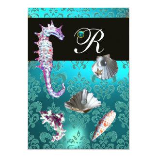 "BLUE AQUAMARINE DAMASK BEACH WEDDING MONOGRAM 5"" X 7"" INVITATION CARD"