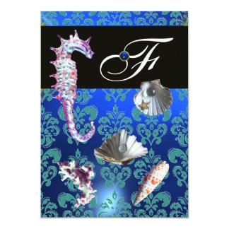 BLUE AQUAMARINE DAMASK BEACH WEDDING MONOGRAM 13 CM X 18 CM INVITATION CARD