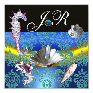 BLUE AQUAMARINE DAMASK BEACH WEDDING MONOGRAM 13 CM X 13 CM SQUARE INVITATION CARD