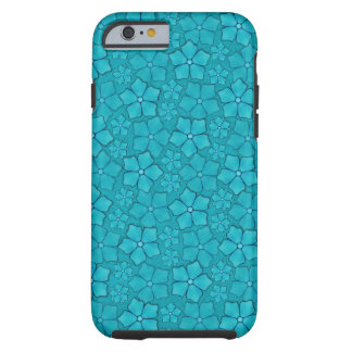 Blue Aquamarine Flower Petals Pattern Tough iPhone 6 Case