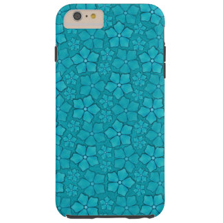 Blue Aquamarine Flower Petals Pattern Tough iPhone 6 Plus Case
