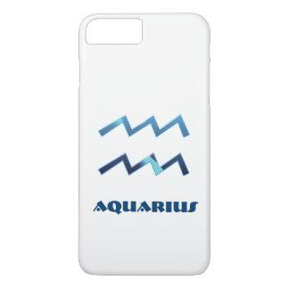 Blue Aquarius Zodiac Sign On White iPhone 8 Plus/7 Plus Case