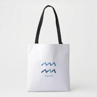 Blue Aquarius Zodiac Sign On White Tote Bag