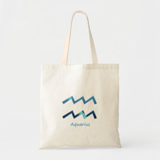 Blue Aquarius Zodiac Sign On White Tote Bag