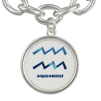 Blue Aquarius Zodiac Signs On White