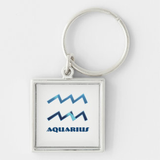 Blue Aquarius Zodiac Signs On White Key Ring