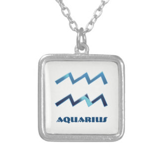 Blue Aquarius Zodiac Signs On White Silver Plated Necklace